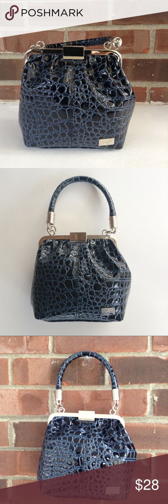 NWOT Beijo black and blue croc embossed skin purse New without tag beautiful faux crocodile embossed handbag. It has four feet to stand it up and a clip claps closure on top. Single strap handle. Smoke and pet free home, fast shipping. beijo Bags Mini Bags