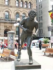 "Terry Fox statue in Ottawa  ""Everybody seems to have given up hope of trying. I haven't. It isn't easy and it isn't supposed to be, but I'm accomplishing something. How many people give up a lot to do something good. I'm sure we would have found a cure for cancer 20 years ago if we had really tried"""