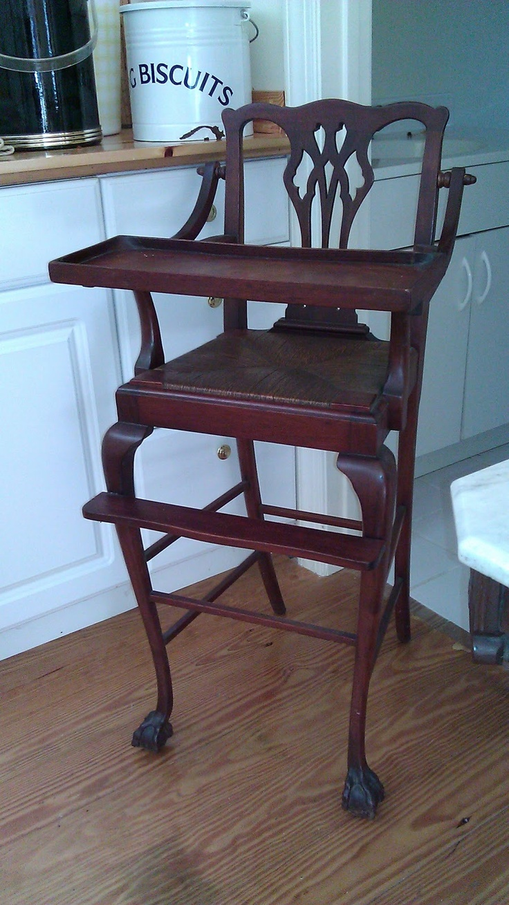 Antique High Chair. Love this!!! Found one once and i wanted to get it even tho i don't have kids =D super expensive but i still want it