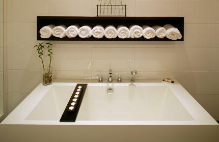 master bathroom spaBathroom Design, Feng Shui, Spa Bathrooms, Towels Storage, Towels Racks, Vinyls Wall Decals, Bathroom Ideas, Bathroom Spa, Master Bathroom
