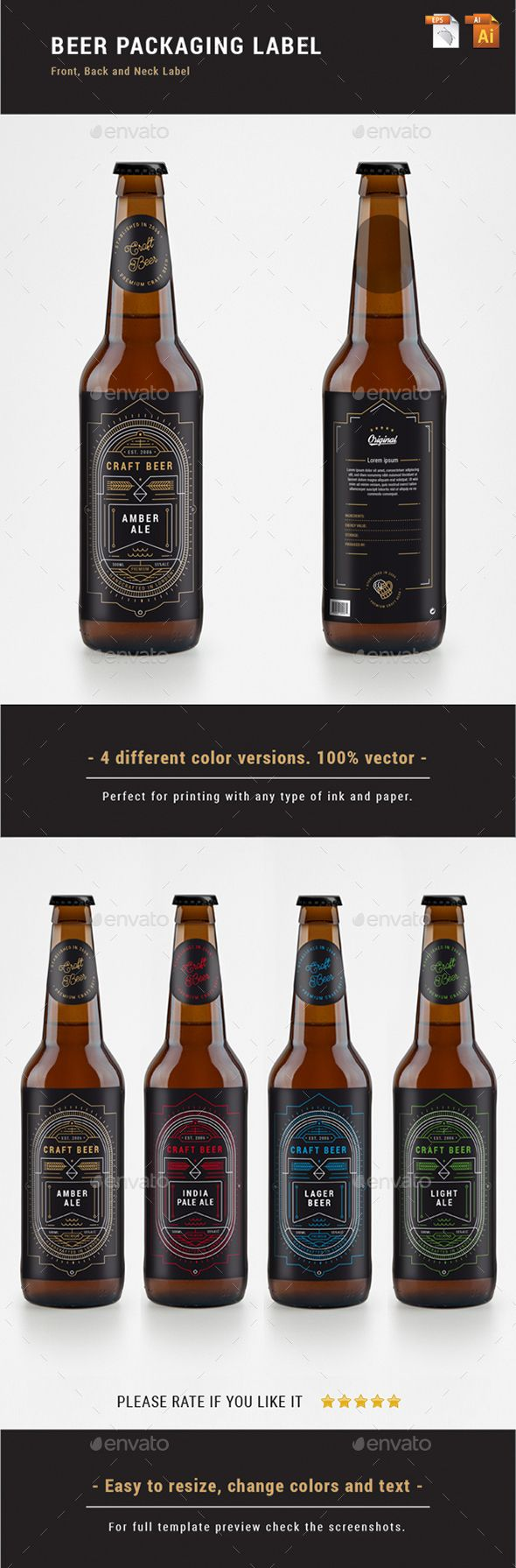 BEER PACKAGING LABEL - Linear Art Print ready beer label. Four different color versions. Front, Back and Neck Label. Easily editable. Fully vector files. Text/Font and Colors can be altered as needed. All Image are in vector format, so can customise easily. It can be used in Similar product too. Mockups are only for representational purposes.