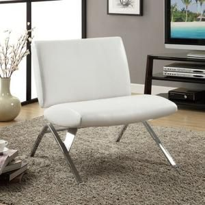Accentuate Your Home With The Classy And Elegant Monarch Specialties White  Leather And Chrome Modern Accent Chair