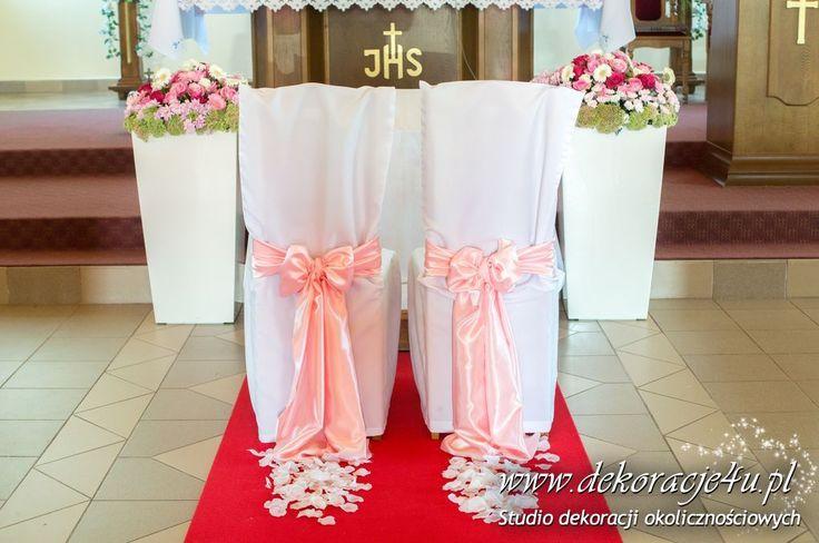 Dekoracja kościoła kolorowe kwiaty w donicach - kolor róż: www.dekoracje4u.pl