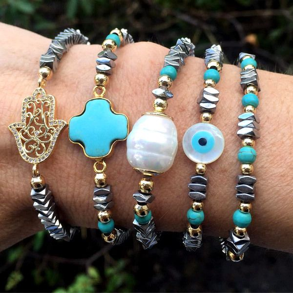 "Set By Vila Veloni Turquoise And Charm ""Cross, Hand Fatima, Turkish Eye, Pearl"" Bracelets"
