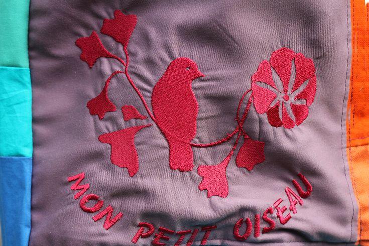 bag !HOLA! embroidered: mon petit oiseau aplicated, key holder;