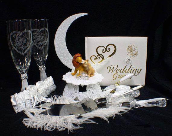 Lion King DISNEY Wedding Cake Topper LOT Glasses by YourCakeTopper