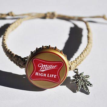 Miller High Life Beer Cap Bracelet with Weed Leaf Charm Recycled Bottle Cap Hemp Bracelet, marijuana leaf charm, weed bracelet