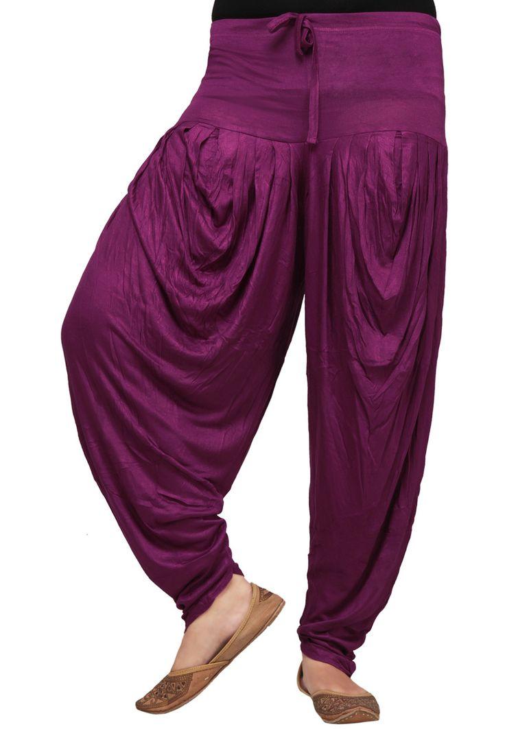 Purple Cotton Readymade Dhoti Pant Online Shopping: BKJ98