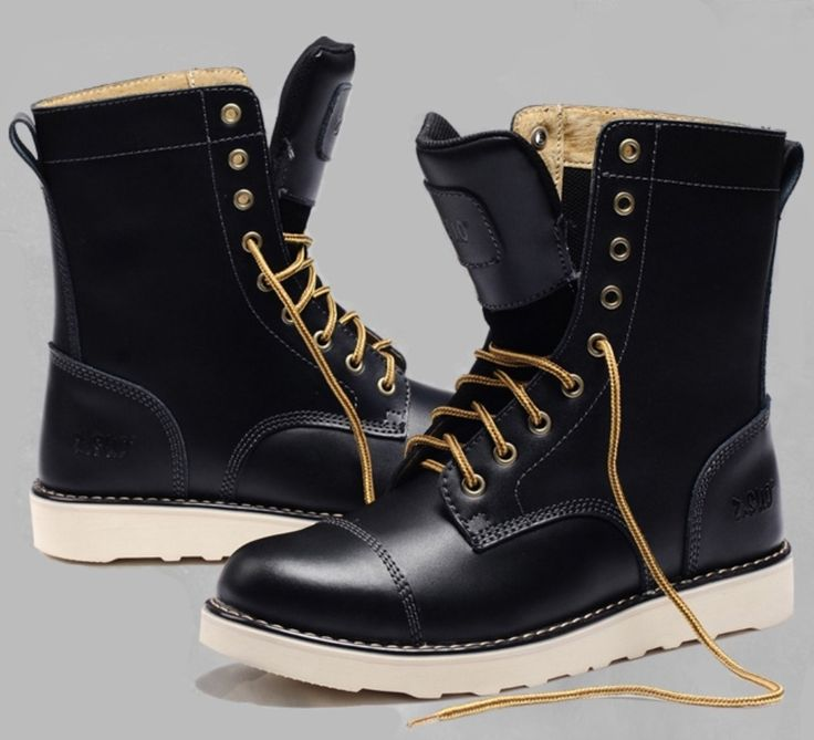trendy black leather boots for men | ... Men-s-Winter-Boots-Outdoor-Genuine-Leather-Shoes-Rubber-Boots-For-Men