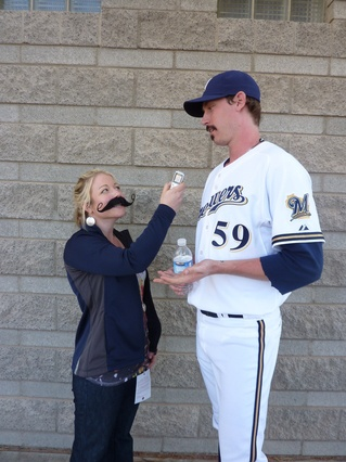 John Axford gets interviewed for the John and Cait...Plus 9 Blog down at Spring Training in 2011.