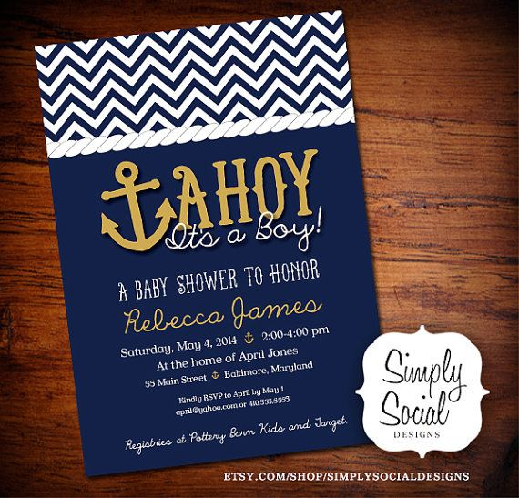 Ahoy It's a Boy Baby Shower Invitation Printable Nautical Anchor Navy and Gold