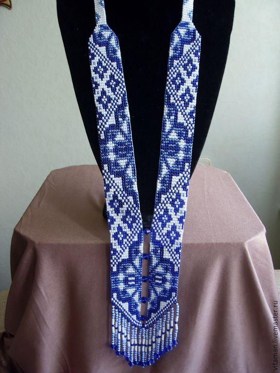 Купить Гердан Гжель - синий, белый цвет, голубой цвет, биконусы, бисер чешский