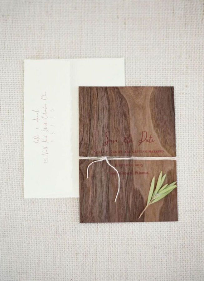 Wood inspired invitation suite: http://www.stylemepretty.com/2016/05/24/laid-back-cocktail-hour-wedding/   Photography: Ozzy Garcia - http://ozzygarcia.com/