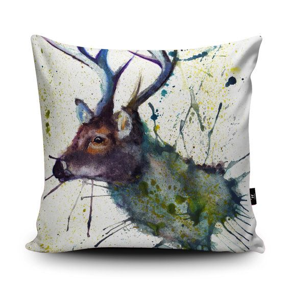 Stag Cushion Stag Pillow Deer Cushion Deer Pillow by Wraptious