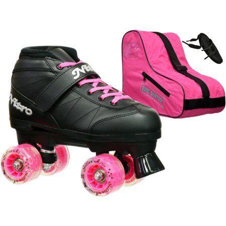 Epic Light-Up Super Nitro Pink Speed Skates Package, Black