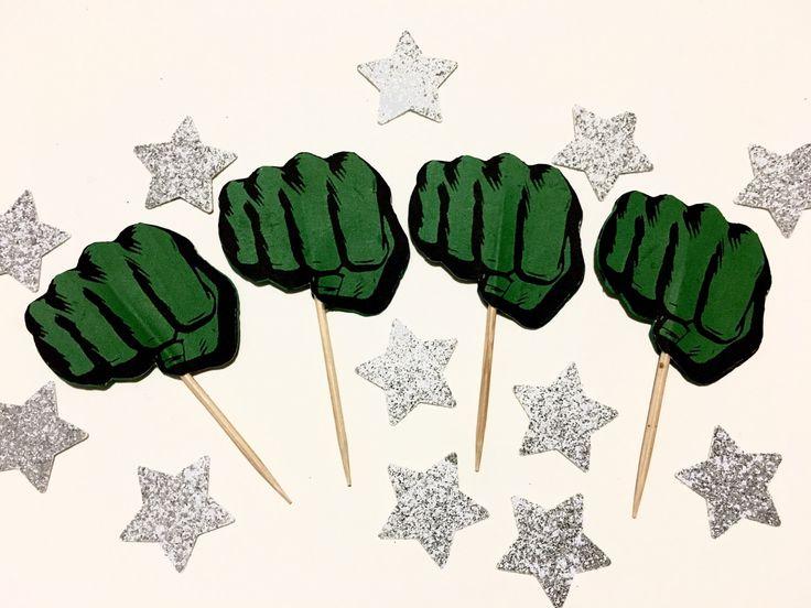 Incredibile Hulk Cupcake Toppers - Avengers Party - Superhero Festa di compleanno - festa di compleanno per bambini di SilkFlowerBaby su Etsy https://www.etsy.com/it/listing/513348397/incredibile-hulk-cupcake-toppers