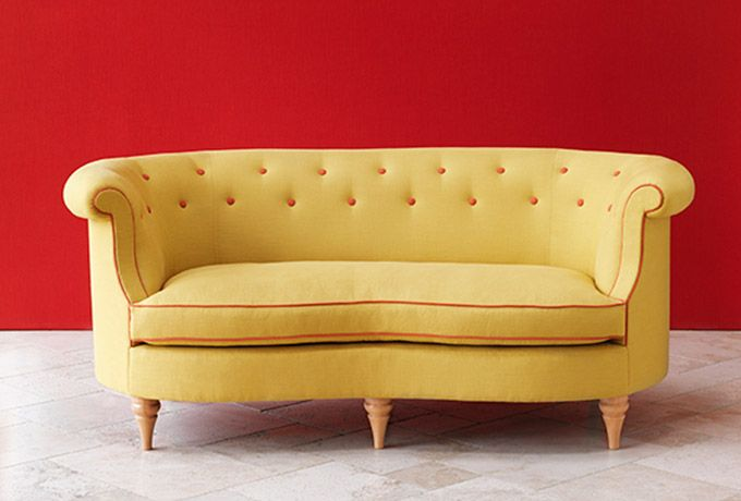 Clanfield buttoned sofa in Harris Plains One, naples