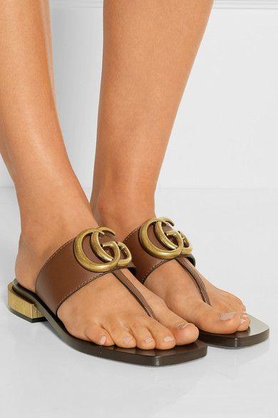 Gucci | Embellished leather sandals | NET-A-PORTER.COM ...