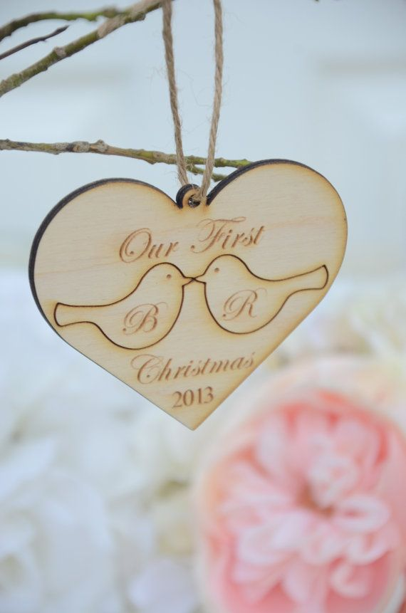 Our first christmas ornament -love birds- Ready to ship within 3 business days