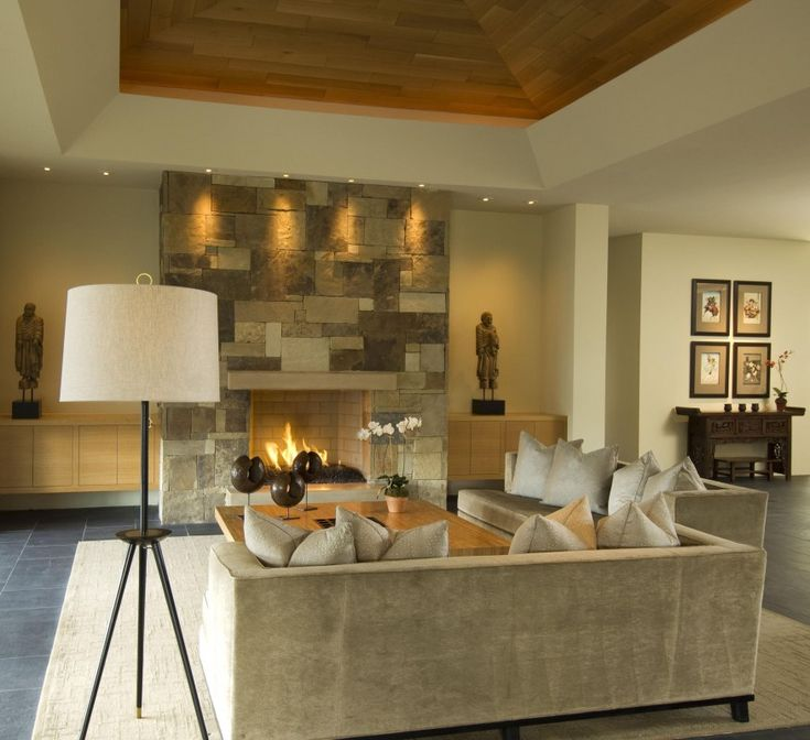 Art Exhibition Built ins without shelves floating Scottsdale Contemporary Living Room by Tamm Marlowe Design