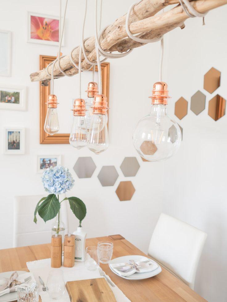 diy kupfer lampe home pinterest herzst ck holztisch und treibholz. Black Bedroom Furniture Sets. Home Design Ideas
