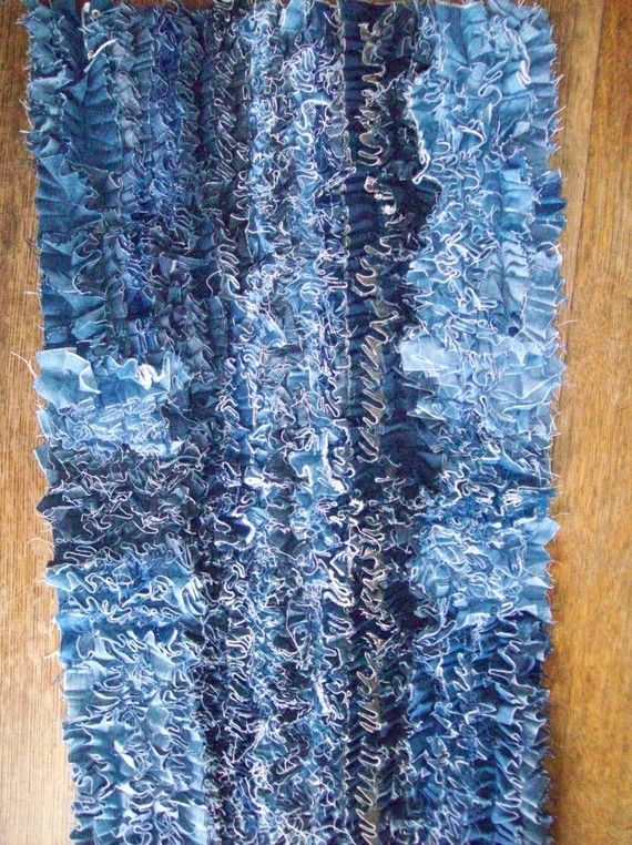 Recycled Denim Scatter Rug Handmade It Is Cottages