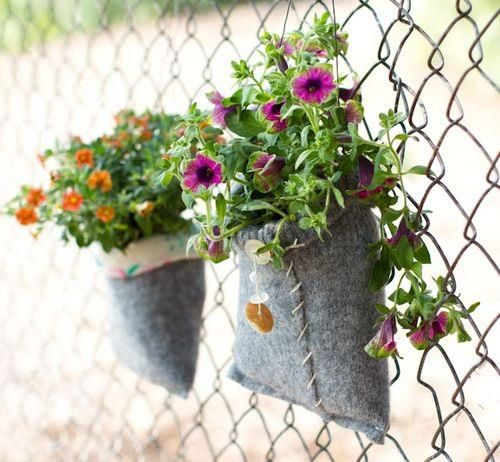 upcycled felted wool sweater planter - cute! and easy to make, good for the environment! (~TA upcycled clothing & garden planter)