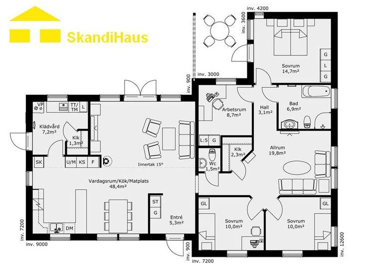 Schwedenhaus SkandiHaus 1-geschossig 144 Grundriss 144-7