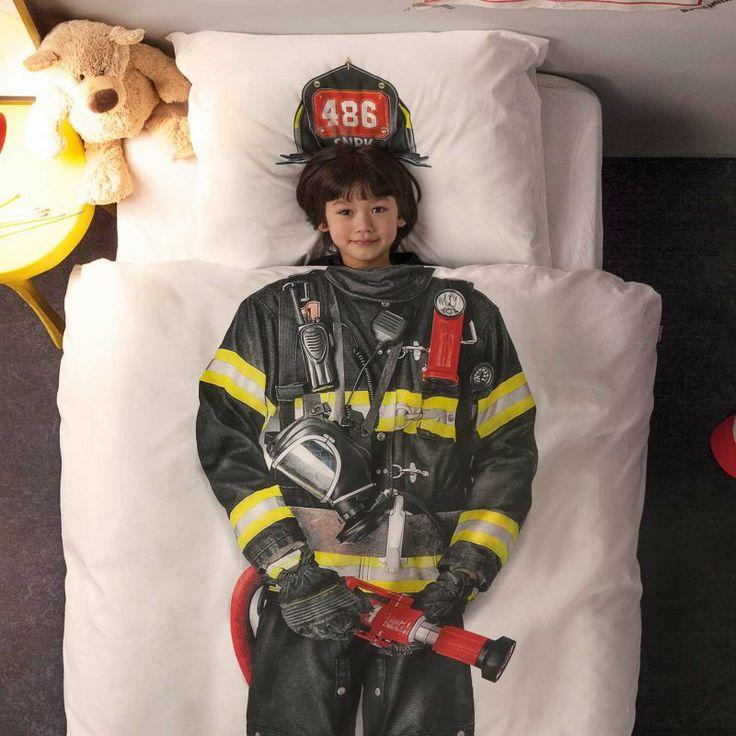 Hoe leuk is dit dekbedovertrek van snurk met de brandweerman