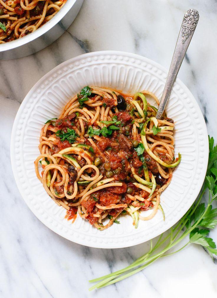 Olive and caper lovers, this easy spaghetti alla puttanesca recipe is for you! | cookieandkate.com #Pasta #Spaghetti #Vegan