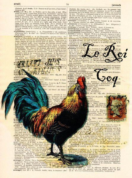 Originele prints - De haan Kunstdruk Vintage Woordenboek Pagina - Een uniek…