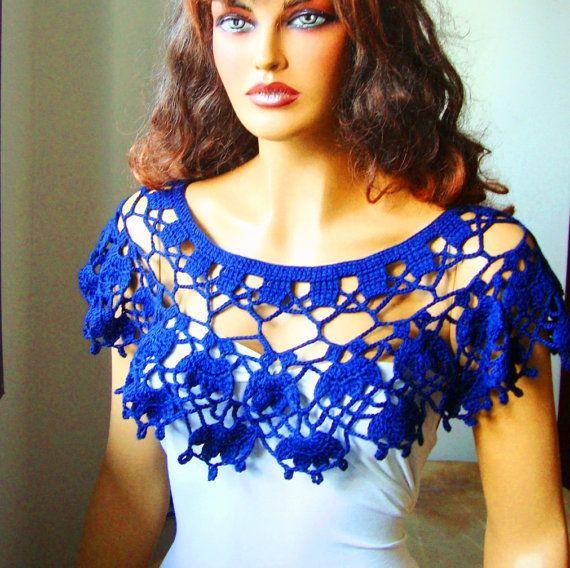 Bolero azul Shrug capa abrigo Bolero de novia dama por RoseAndKnit