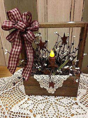 Primitive Tobacco Lathe Box w Handle Has Berries Battery Operated Candle | eBay