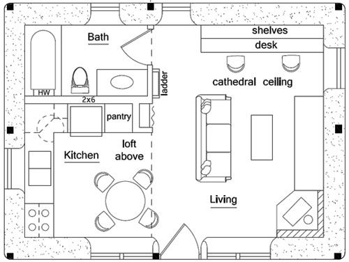 Green House Plan 315 sq ft Small house living It may