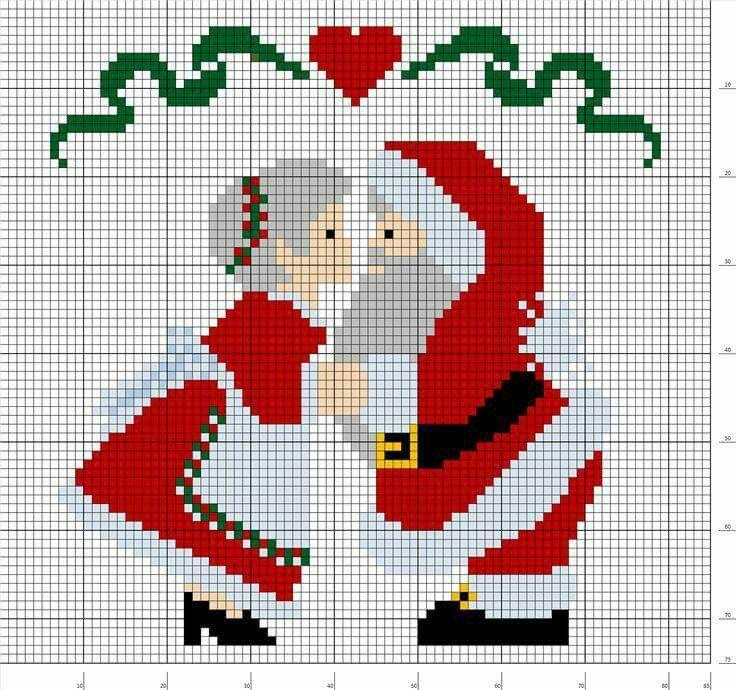 Santa Claus Mrs Claus kissing crochet pattern graph graphgan c2c hama perler