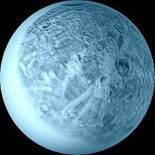Oberon, a major moon of the planet Uranus. Named after the mythical king of fairies by William Herschel in 1787.