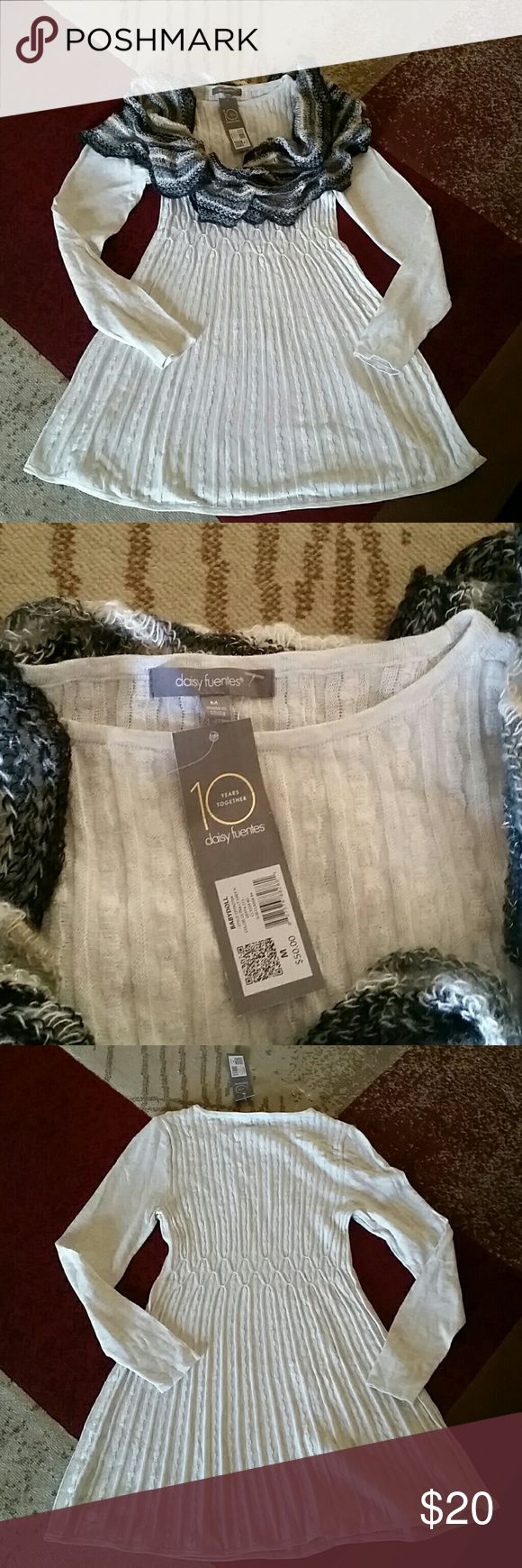 Daisy Fuentes baby doll dress new with tags. Brand new Daisy Fuentes babydoll dress, long sleeve,  ultra light grey color. Looks to me like cream and specks of gray. Never worn.  Infinity scarf also for sale. Daisy Fuentes Dresses Long Sleeve
