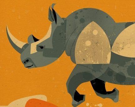 Running Rhino' Print Art by Dieter Braun on myMzone £25