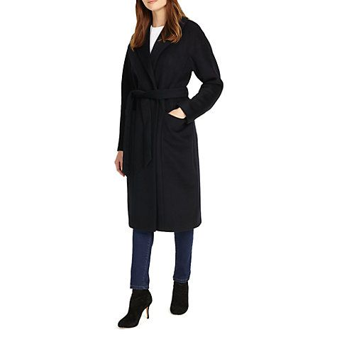 Buy Phase Eight Aileen Wool Rich Belted Coat, Navy Online at johnlewis.com