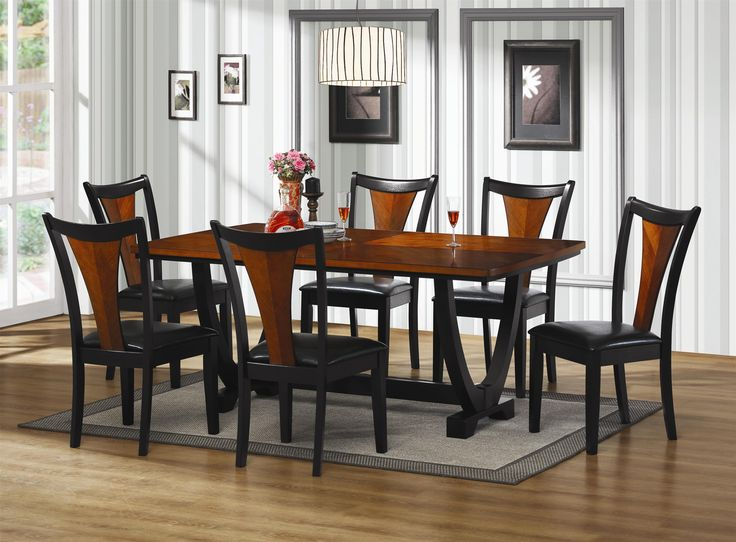 7 PC Boyer Black And Cherry Wood Finish Rectangular Contemporary Dining Table Set