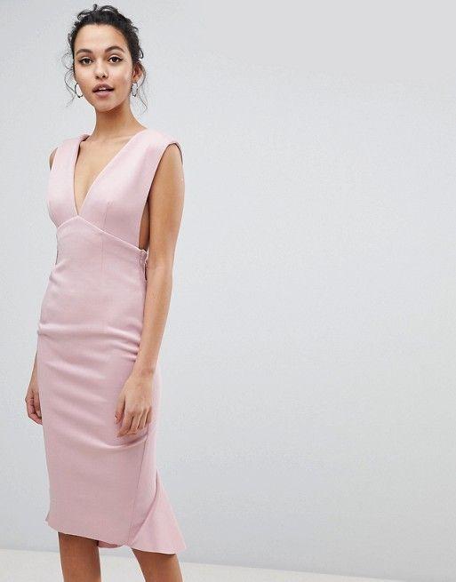 c0549c5ab752 Deep Plunge Corsage Back Pephem Midi Bodycon Dress in 2019