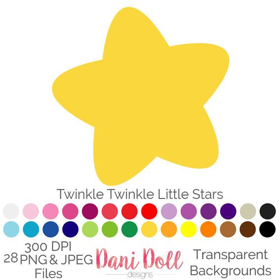 Twinkle Little Stars Silhouettes 28 Colours Clip Art Elements PNG JPEG Commercial Baby Scrapbooking Instant Download by danidolldesignsx