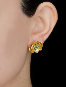 Cubic Zirconia Floral Silver Earrings by Amrapali