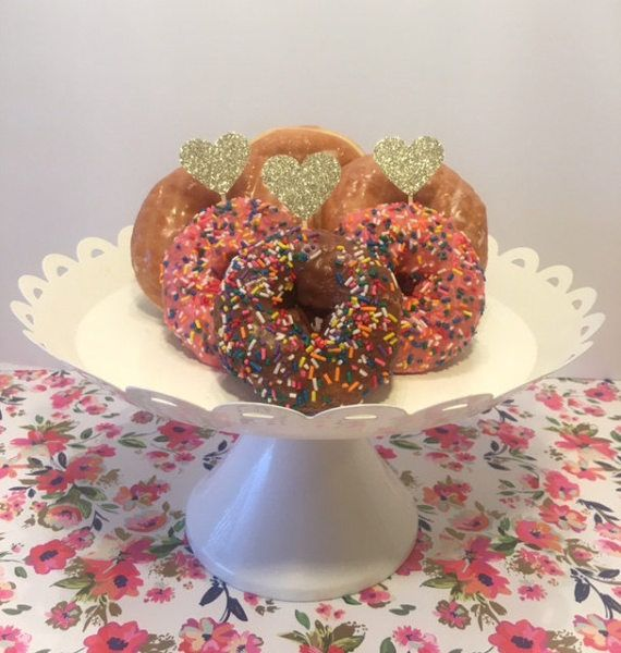 Champagne Gold Glitter hart Cupcake Topper  Donut door Lookswise