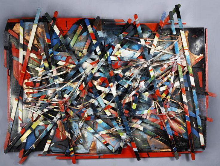 """Victor Shmokhin. Пространственная конструкция. """"Динамика Космоса"""" 1992г. Фанера /деревянные рейки, медная проволока, масло, темпера, медная лента, гвозди. 78,2х1005,2"""