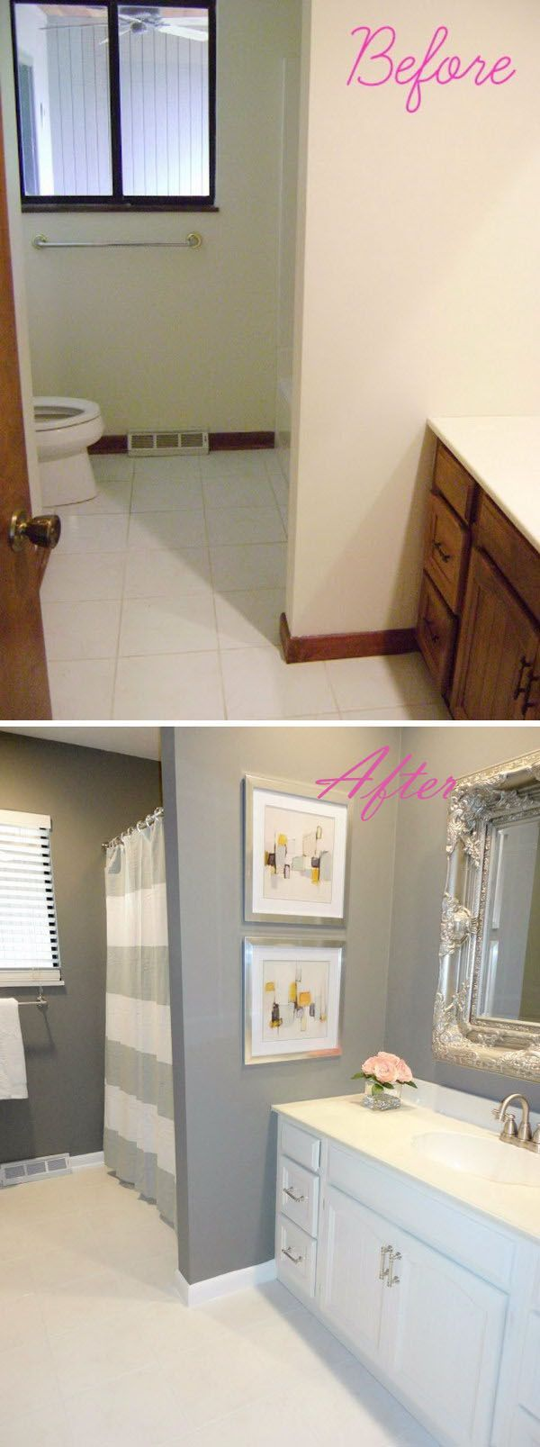 Two mirrors in master replaces the one large mirror.   DIY Bathroom Remodel on a Budget.