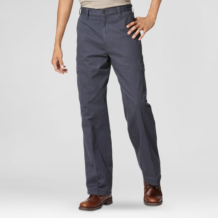 Dickies Men's Loose Straight Fit Cotton Cargo Work Pant- Charcoal (Grey) 38x30