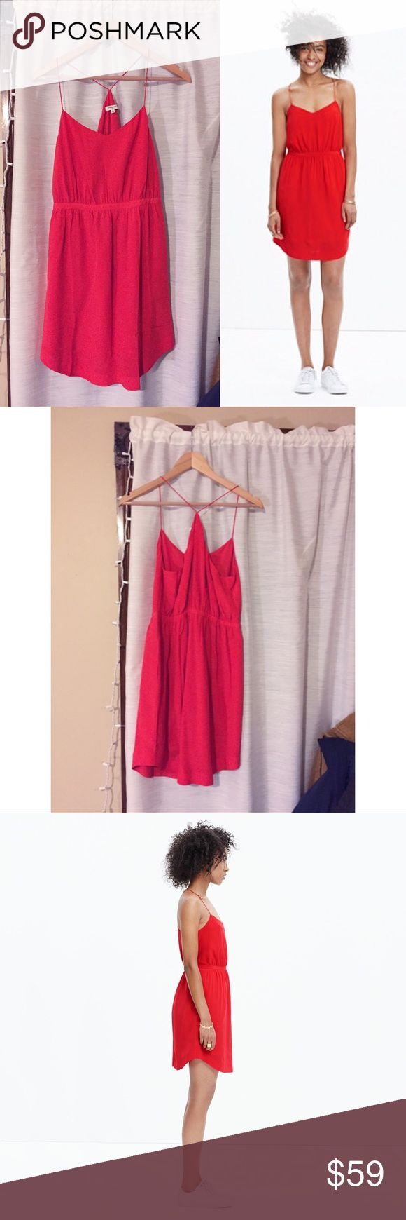 Madewell Silk Starview Cami Dress New with tags! This 100% silk cami dress is an awesome sunny red, effortless and flattering. And it has pockets! A versatile silhouette that works from the office to the rooftop bar to the beach. Madewell Dresses