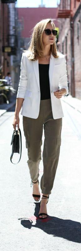 olive track pants, white blazer, black tank, black lace up heels, black handbag + sunglasses {theory, rag & bone, j. crew, m2malletier, wonderland}