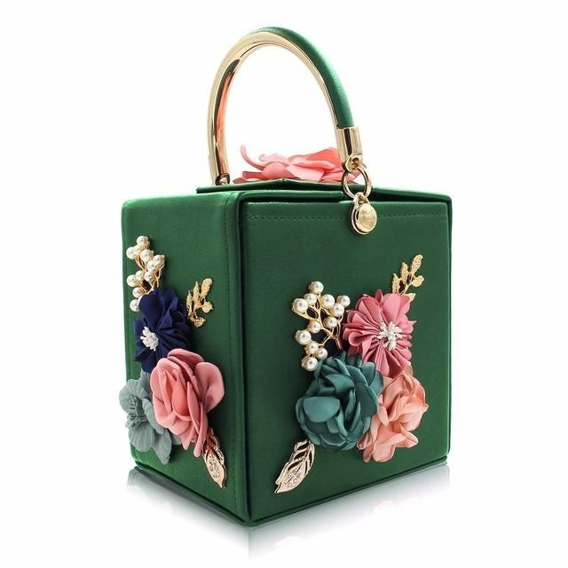Gem Box Shaped Clutch With Flower Details In 2020 Purses
